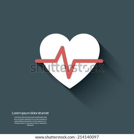 Heart beat icon in modern flat design with long shadow. Eps10 vector illustration. - stock vector