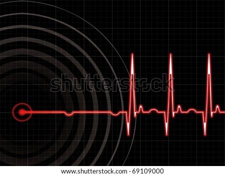 Heart beating again in editable format - stock vector