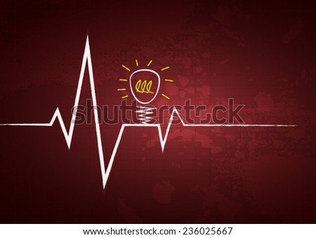 Heart beats cardiogram background with attention light bulb icon poster - stock vector
