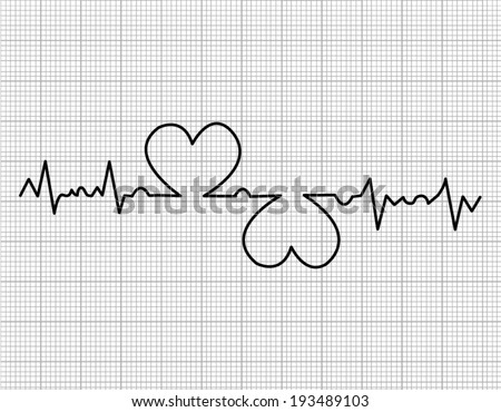 heart beats cardiogram on white background - stock vector
