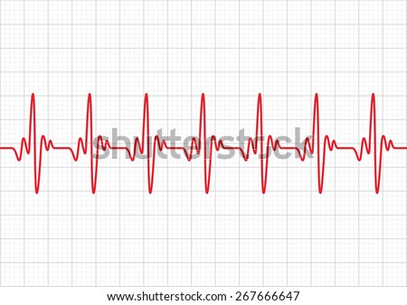 Heart beats cardiogram - Vector - stock vector