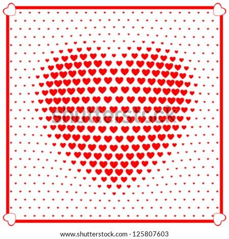 Heart beats with many small hearts. Halftone effects. High detailed vector. - stock vector