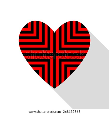 Heart card with striped red and black. on white background. - stock vector