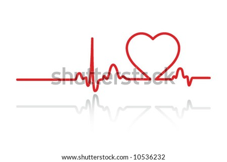Heart cardiogram with heart on it (white) - stock vector