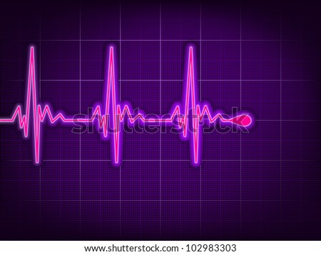 Heart cardiogram with shadow on it deep purple. EPS 8 vector file included - stock vector