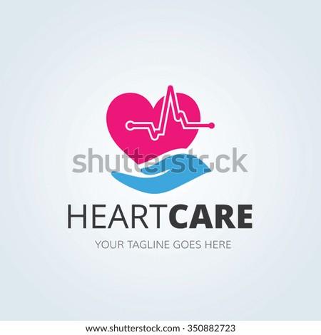 Heart Care logo,vector logo template - stock vector