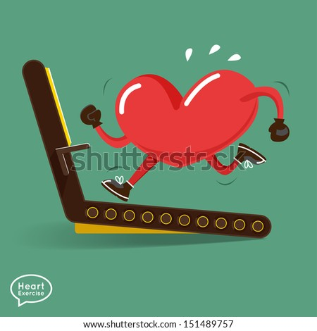 Heart charactor vector design fitness for smart heart with running,dumbbell,boxing - stock vector