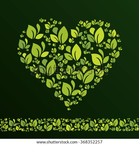 Heart created from leaves in ecological style.. Vector design template element for your ecology application or corporate identity. Can be used as greeting card for Valentine's day. - stock vector