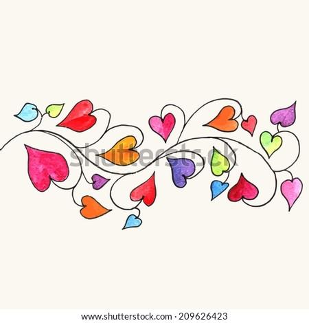 Heart. Decorative romantic border. Love decoration. Valentine card. - stock vector