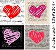 Heart design elements. Love set. Handwriting vector background. Valentine day. - stock vector