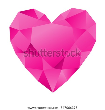 Heart diamond,Ruby, Siam gem isolated on white background. Red polygonal sphere with gradient color low poly triangles. - stock vector