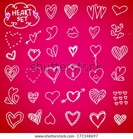 Heart doodle set, vector illustration hand drawn - stock vector