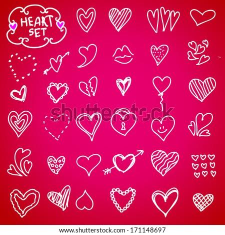 Heart doodle set, vector illustration hand drawn - stock vector