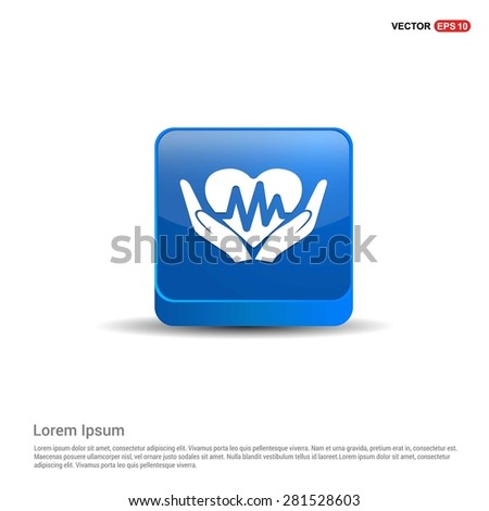 heart ecg in hand icon Icon - abstract logo type icon - blue 3d button background. Vector illustration - stock vector