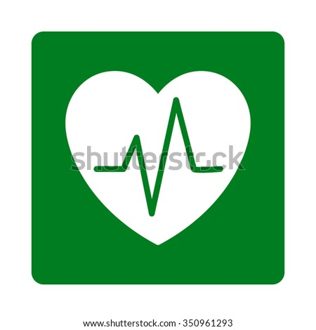 Heart Ekg vector icon. Style is flat rounded square button, white and green colors, white background. - stock vector