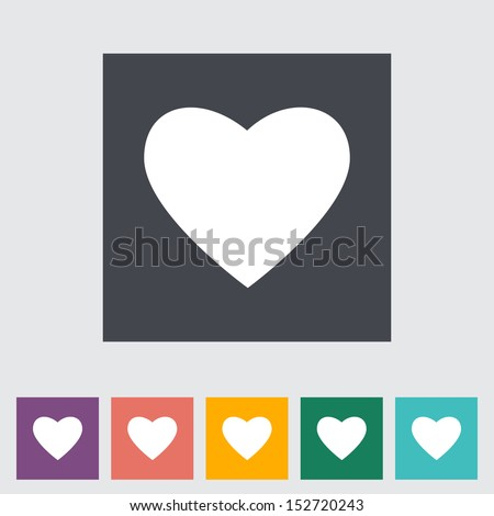 Heart flat icon, white silhouette. Vector illustration. - stock vector