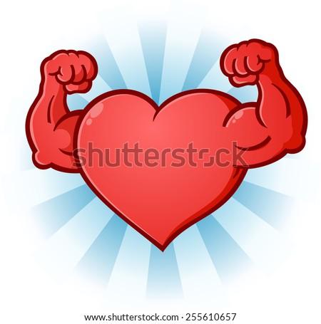 Heart Flexing Muscles Cartoon Character - stock vector