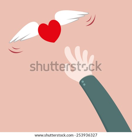 Heart flying away from hand - stock vector
