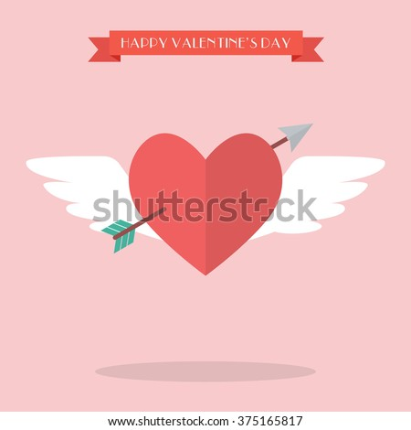 Heart flying with cupid arrow. Happy valentine's day - stock vector
