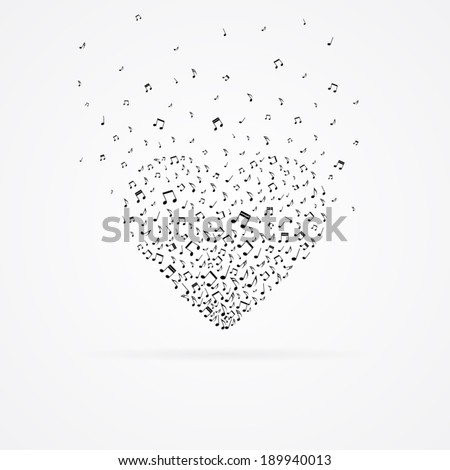 Heart from floating tunes isolated on white. - stock vector