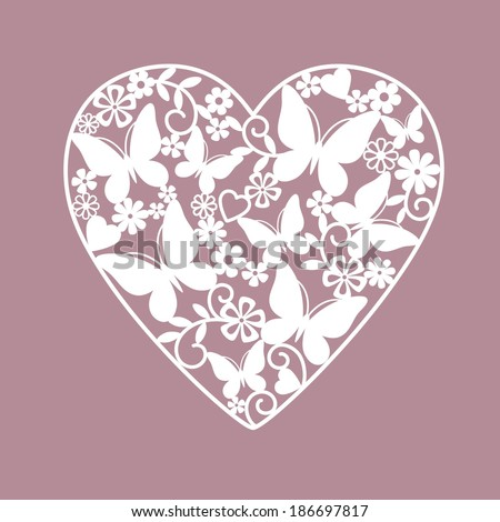 heart from flowers and butterflies - stock vector