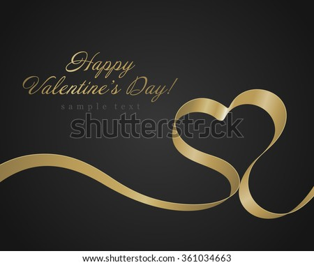 Heart from golden shiny ribbon Valentine's day Greeting Card vector background. Good for Valentines day invitation, Valentine card, Valentines day background. - stock vector