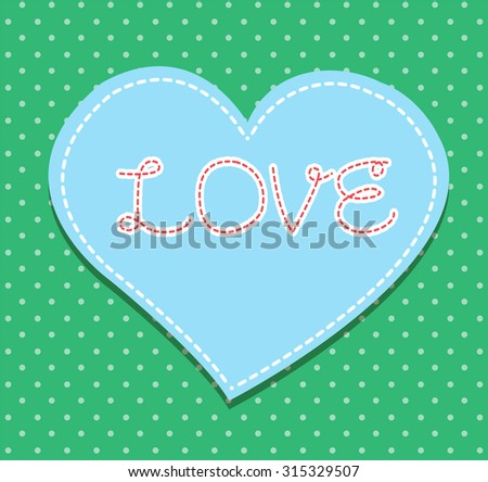 Heart from paper Valentines day card vector background. cut green paper - stock vector