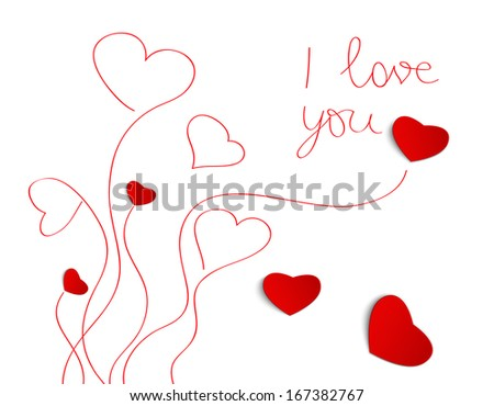Heart from paper ,Valentines Day greeting card  - stock vector