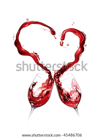 Heart from pouring red wine in goblet in white background - stock vector