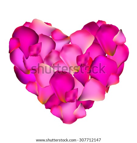 Heart from Rose Petals Vector Illustration EPS10 - stock vector