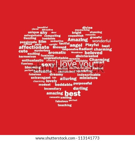 heart from the words of love - stock vector