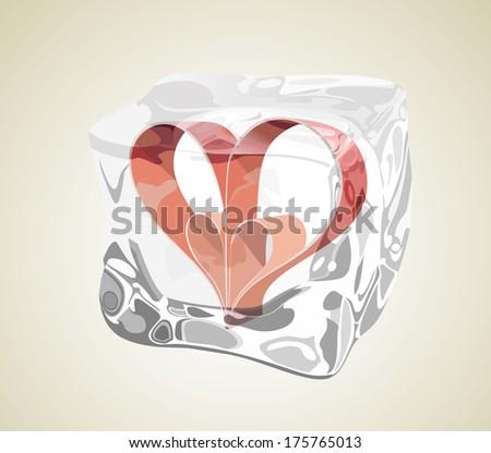 heart frozen in ice cube - stock vector