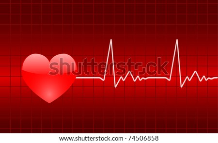 heart graph - stock vector