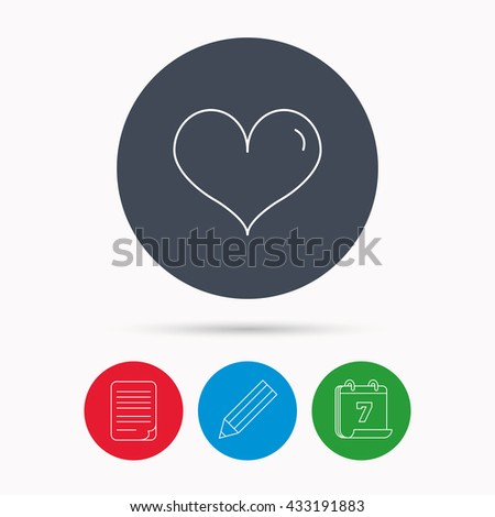 Heart icon. Love sign. Life symbol. Calendar, pencil or edit and document file signs. Vector - stock vector