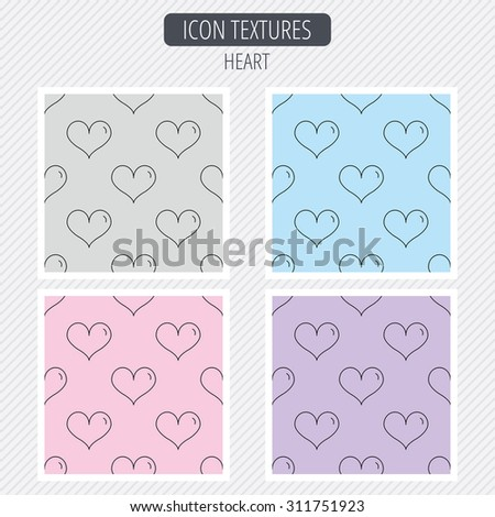 Heart icon. Love sign. Life symbol. Diagonal lines texture. Seamless patterns set. Vector - stock vector