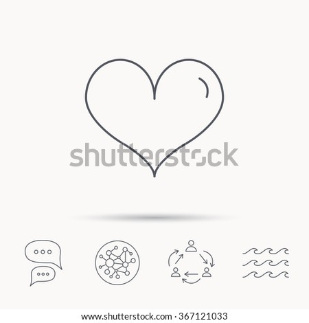Heart icon. Love sign. Life symbol. Global connect network, ocean wave and chat dialog icons. Teamwork symbol. - stock vector
