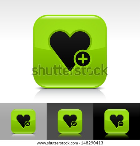 Heart icon set. Green color glossy web button with black sign. Rounded square shape with shadow, reflection on white, gray, black background. Vector illustration design element 8 eps  - stock vector