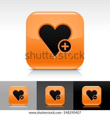 Heart icon set. Orange color glossy web button with black sign. Rounded square shape with shadow, reflection on white, gray, black background. Vector illustration design element 8 eps  - stock vector