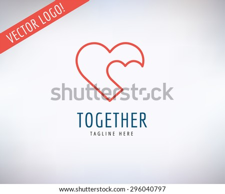 Heart icon vector logo. Heart logo, heart shape. Togetherness concept. Together logo. Heart logo. Heart icon. Love, health or doctor and relations symbol. Heart vector logo, heart together icons - stock vector