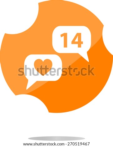 Heart Icon Vector, vector Like Counter Notification Icon, instagram style - stock vector
