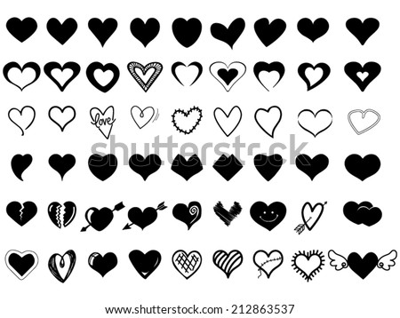 Heart Icons - stock vector