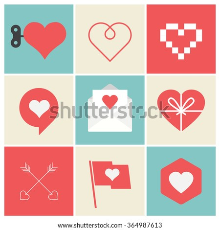 Heart Icons Set, ideal for valentines day and wedding. Editable vector logo design.  - stock vector