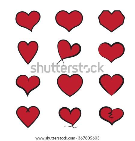 Heart icons set, Vector hearts set. - stock vector