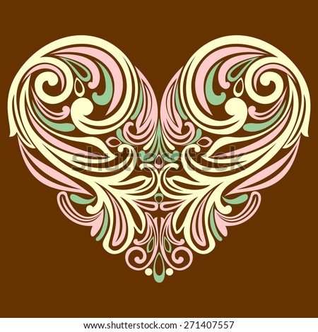 Heart in floral style isolated on brown background. Celebration background with heart. Vector  illustration  - stock vector