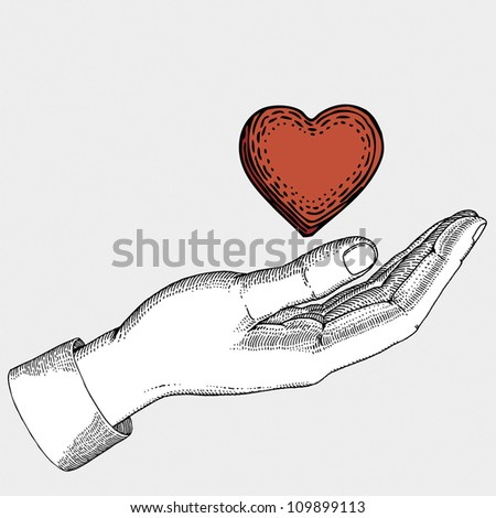 Heart in hand - stock vector