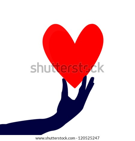 heart in hand - stock vector