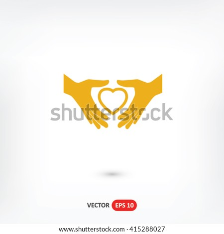 Heart in hand icon vector, Heart in hand icon eps10, Heart in hand icon picture, Heart in hand icon flat, Heart in hand icon, Heart in hand web icon, Heart in hand icon art, Heart in hand icon drawing - stock vector
