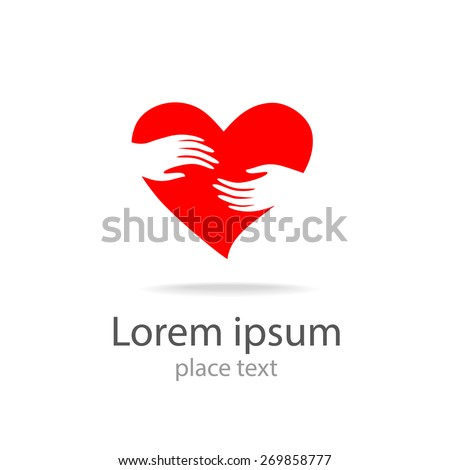 heart in hands - vector symbol, template for design logo - stock vector