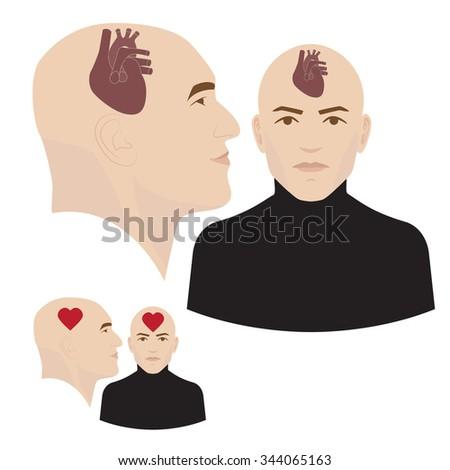 heart in head vector illustration. symbol of emotional intelligence. - stock vector