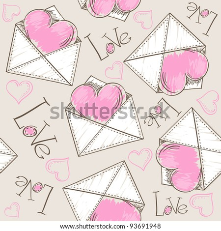 Heart in the envelope (tile-able background) - stock vector